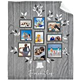 Custom Blanket Personalized Family Tree Throw Blanket with Pictures Customized Gifts for Mom Grandma Birthday Anniversary Adults 60' x 80'