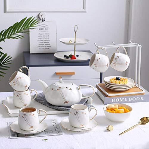Kaffeetasse kleine luxus einfache set nachmittagstee set tee tasse haushaltskeramik wasser tasse mit komplettset weiß 6 tassen 1 topf 1 tablett 1 regal 6,5 * 7,5 cm