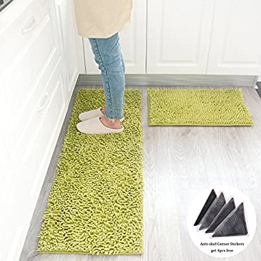 Wolala Home 2 pcs Sets Strong Absorbent Non-slip Kitchen Rug and Carpet Super Soft Chenille Shaggy Latex Backing Solid Home Decorator Floor Mats (16''x24''+16''x47'', Green)