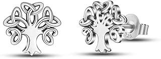INFUSEU Sterling Silver Celtic Knot Stud Earrings Tiny Delicate Ear Studs 7-10 mm for Women Girl Irish Jewelry