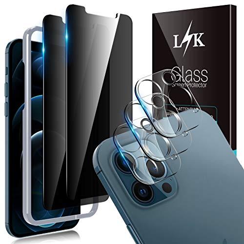 LϟK 5 Pack Protector de Pantalla Compatible con iPhone 12 Pro MAX 5G 6.7 Pulgada con 2 Pack Cristal Templado de Privacidad y 3 Pack Protector de Lente de Cámara - Sin Burbujas Kit Fácil instalación
