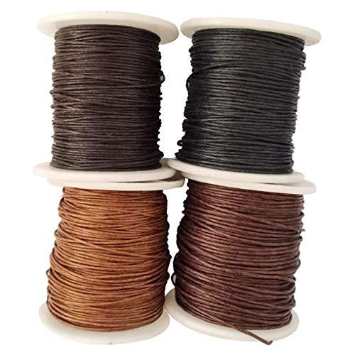Yourandoll 4 rollos de cordón de algodón encerado, 1 mm x 80 m, para manualidades, pulseras, collares, fabricación de joyas (color 2)