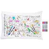 eatsleepdoodle Fairytales & Legends Educational Pure Cotton Soft Pillowcase - Color Your Own Pillow Case with Unicorns, Dragons, Princesses and More to Personalize, Washable Fabric Markers Included