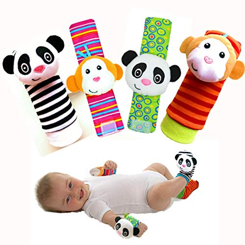 Baby Toys for 0-12 Months Infant Rattle Toy Socks Wrist Rattles & Foot Rattles Foot Finders (Monkey & Panda)