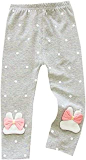 Weixinbuy Kids Baby Girl's Polka Dot Rabbit Pattern Soft Elastic Waist Leggings Pants Trousers