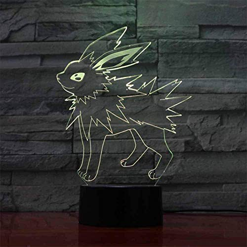 Lámpara de mesa LED 3D Pokemon Jolteon Kids Night Light 16 colores regulable USB Powered Control táctil con control remoto, regalos creativos para niños de 10 años