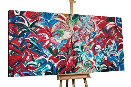 'Blütendschungel' 200x100cm   Abstrakt Rot   Modernes Kunst Acrylbild