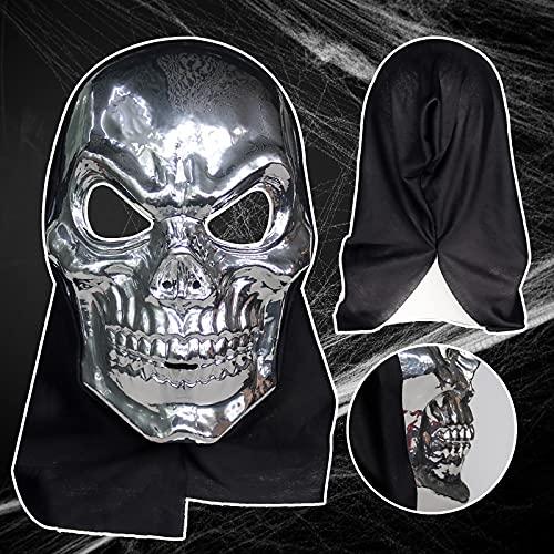 Máscara de Halloween de cabeza completa, máscara de látex, diseño de calavera humana, regalo personalizado, imitación de plata
