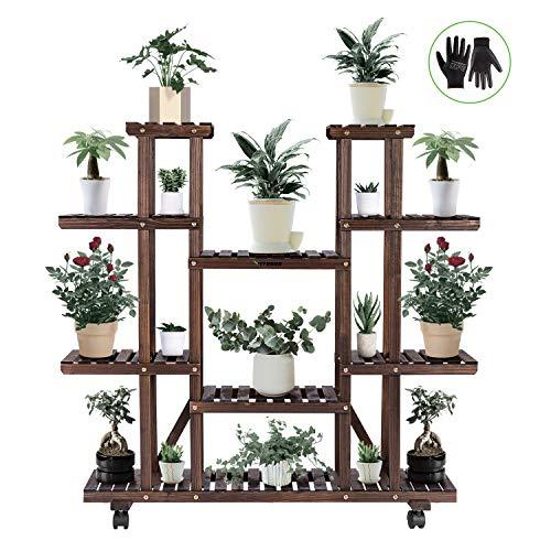 VIVOSUN Wood Plant Stand Plant Display Shelf Flower Rack Display for Indoor Outdoor Garden Lawn Patio Bathroom Office Living Room Balcony (9 Wood Shelves 17 Pots)
