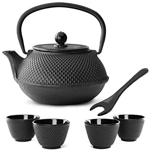Bredemeijer theepot in kleine zwarte Aziatische gietijzer, 0,8 liter, set met thee-filterzeef, theebeker (4 kopjes) & deksellifter