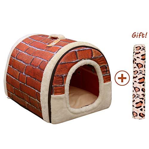 Cama/Caseta Perro Gato Interior 2 en 1, Casa Mascota Grande o Pequeño,...