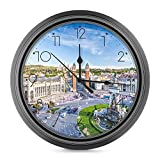 DYCBNESS Reloj de Pared,City View of The Center Barcelona España Panorama Bus Catedral Fountain Travel Decorativos Silencioso Reloj de Cuarzo No-Ticking Funciona con Pilas,para decoración del hogar