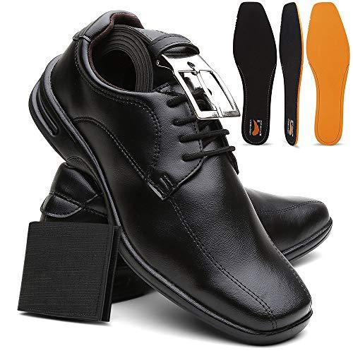 Sapato Masculino Confort Ultra Leve E Macio + Cinto e Carteira - Preto/40