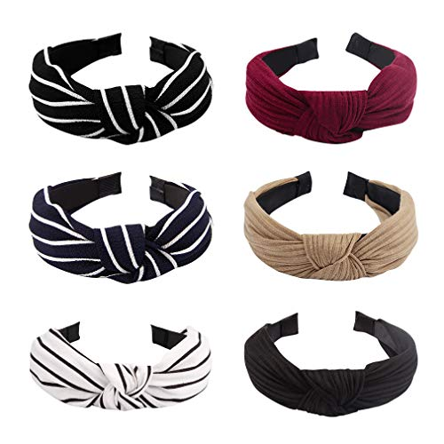 Jaciya 6 Pieces Knotted Headbands for Women Turban Headbands for Women Wide Headbands for Women Knot Headband 6 Colors Hard Headbands for Women