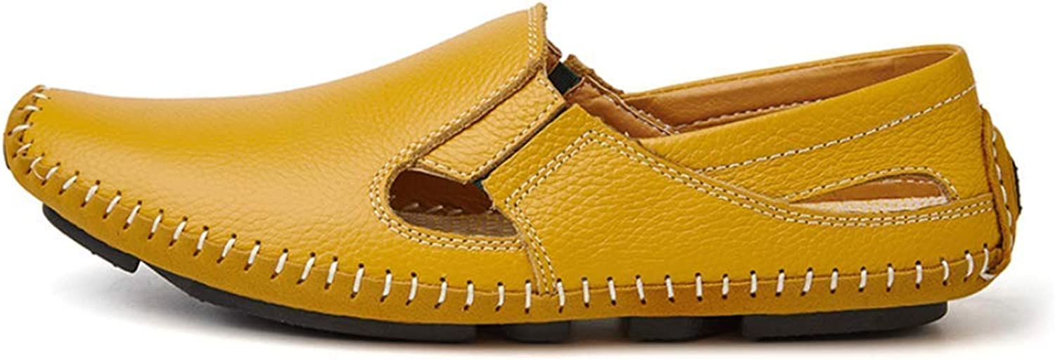 ZHRUI Men's Sandals Casual Leather Driving shoes Flats Boat shoes Sneakers Slippers (color   Yellow, Size   9=43 EU)