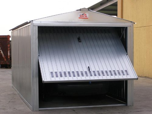 sapil Box casetta in lamiera zincata con Struttura in Acciaio zincato mt. 5,07x2,60x2,11 h con Porta Basculante MOD. SAPILBOX