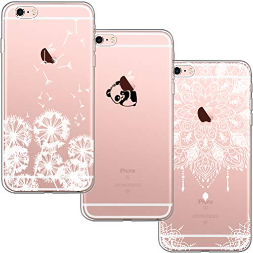 [3 Pack] Funda iPhone 6 Plus, Funda iPhone 6S Plus, Blossom01 Ultra Suave Funda TPU Silicona con Dibujo Animado Lindo para iPhone 6 / 6S Plus - Diente de León Panda Mandala