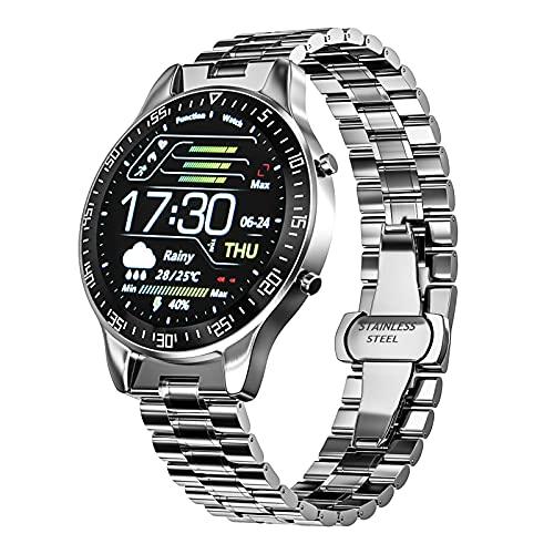 FORMIZON Reloj Inteligente para Hombres, IP68 a Prueba de Agua Fitness Rastreador Reloj Inteligente Monitor, Pantalla Táctil Completa Reloj, Relojes Hombres para Android e iOS (Plata)