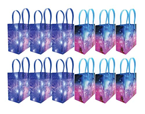 Galaxy Outer Space Party Favor Bags Treat Bags, 12 Pack