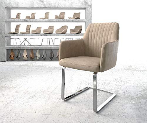 Preisvergleich Produktbild DELIFE Armlehnstuhl Greg-Flex Flachgestell verchromt Vintage Beige