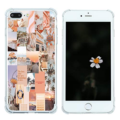 Case for iPhone 7 Plus/8 Plus, Vintage Vibe Collage Aesthetic Retro The Best Time Slim Case TPU Bumper Shockproof Protective Cover Case for Women Girls Support Wireless Charging