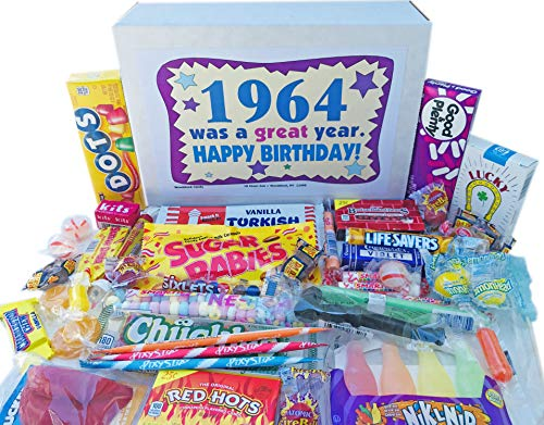 Woodstock Candy ~ 1964 56th Birthday Gift Box Nostalgic Retro Candy Mix from Childhood for 56 Year Old Man or Woman Born 1964 Jr