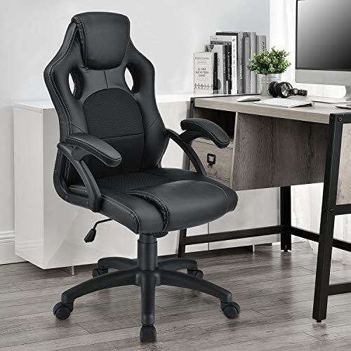 ArtLife Racing Schreibtischstuhl Montreal schwarz | Kunstleder | höhenverstellbar | ergonomisch | 120 kg belastbar | Bürostuhl Drehstuhl Chefsessel