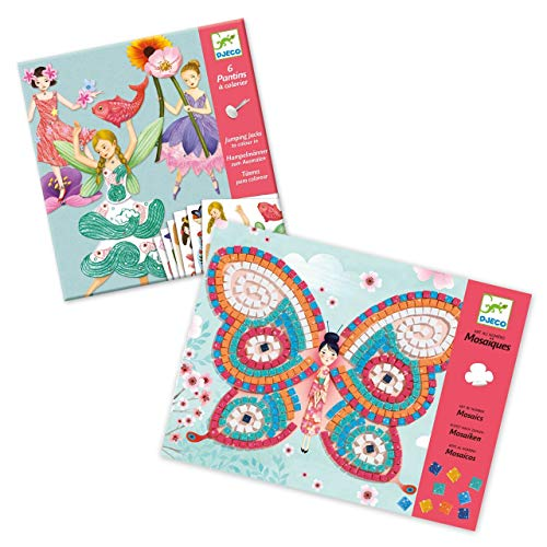 Djeco Bundle mit Kreativ-Set Fairies mit beweglichen Elementen und Kreativ-Set Mosaikbilder Schmetterlinge