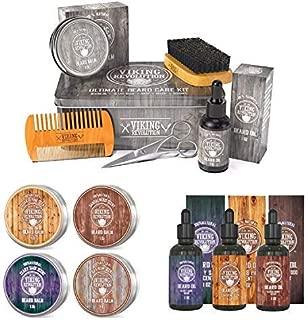 Beard Care Kit Bundled with Beard Oil Variety 3 Pack and Beard Balm Variety 4 Pack (3 Items)