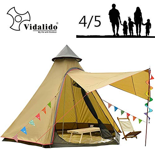 12'x10'x8'Dome Camping Tent 5-6 Person 4 Season Double Layers Waterproof Anti-UV Windproof Tents Family Outdoor Camping Tent(Yellow)