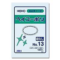 ヘイコー ビニール袋 ヘイコーポリ No.13 0.03mm厚 紐なし 100枚 006611301