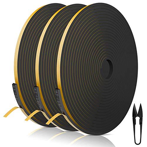 Dichtungsband für Türen 6mm(B) x 3mm(D) selbstklebendes Schaumstoffband Türdichtung Fenste, Gummidichtung für Kollision Siegel Schalldämmung Gesamtlänge 18m (3 Rollen je 6m lang) schwarz