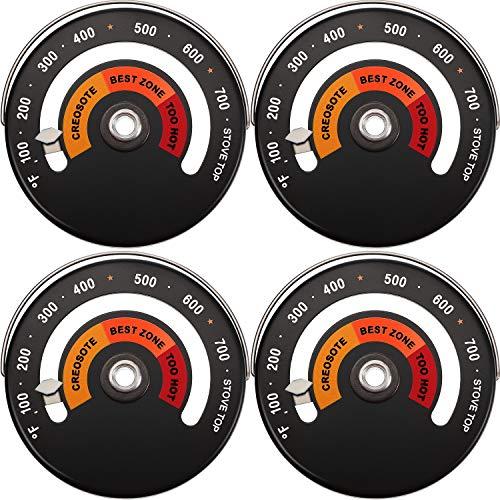 Termómetro Magnético Superior Termómetro Estufa de Leña Termómetro Tubo de Humo Chimenea Estufa Medidor Temperatura de Estufa para Evitar Ventilador de Estufa Dañado por Sobrecalentamiento(4 Piezas)