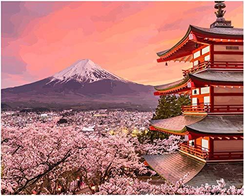 Schilderij met Sakura-cijfers, 40 x 50 cm, zonder lijst, voor woonkamer, huisdecoratie, muurkunst, digitaal schilderij
