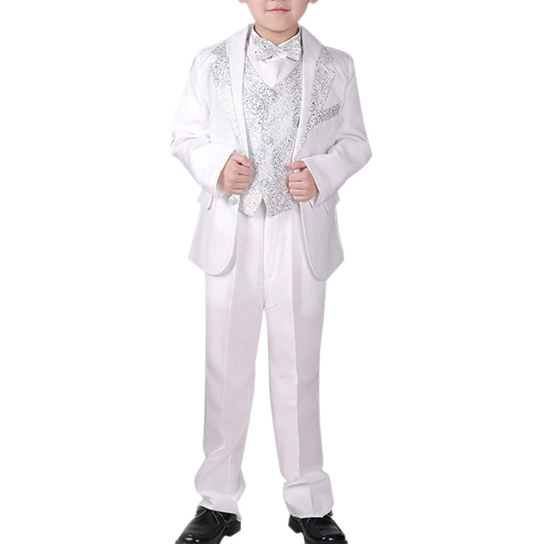 Cozy Maker(C&M)スーツ セット 男の子 フォーマル 子供服 入学式 ジュニア キッズ 男児 卒園式 入園式 結婚式 発表会 卒業式 喪服 無地 紳士服 人気 シンプル 5点セットコート+パンツ+ベスト+シャツ+ネクタイ