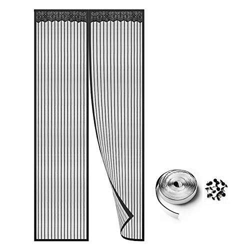 Puerta De Pantalla Magnética,Magnetic Fly Screen Door Magnetic Mesh Screen Door with Full Frame  Easy Install, for Keep Bugs Fly out - Black 140x230cm(55x91inch)