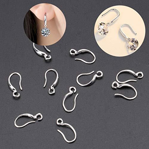 LessLIFE 10 ganchos para pendientes, S925, chapados en plata, gancho para oreja francesa, pendientes de alambre para manualidades, joyería