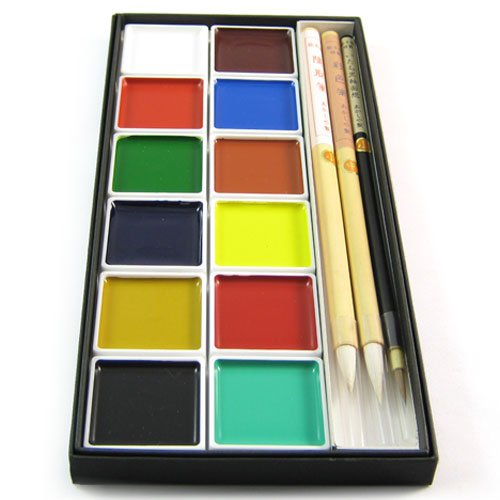 Japanese Coloured Ink Painting & Calligraphy Set