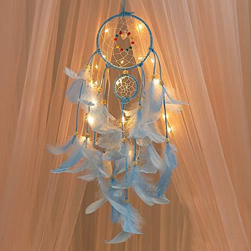 FeiliandaJJ Traumfänger, Nachtlicht Feder Nachtlichter Wand Hängend Home Decor Nacht Lampe für Kinder Baby Schlafzimmer Wohnzimmer Geburtstag Geschenk (Blau)