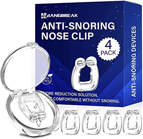Anti Snoring Devices, Silicone Magnetic Anti Snore Clip, Transparent Stop Snoring Device, Nose Clip Tools Professional Relieve Snore Mini Comfortable Sleeping Aid for Men and Women (4 pcs)