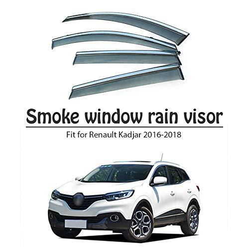 BTSDLXX 4Pcs Car Side Fensterabweiser Windabweiser, für Renault Kadjar 2016 2017 2018 Weathershields Window Visier, Fenster Schutz Sonne Regen Dunkel Rauchabzug Schatten Auto Zubehör