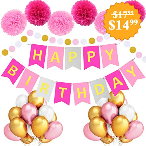 Birthday Decorations - Large Happy Birthday Banner - Theme Birthday Party Decorations - Happy Birthday Letters - Pink Rose Gold For Woman Girl Mom Balloons Hanging Pom Poms Wall Party Supplies