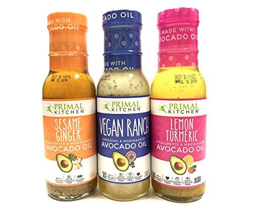 Primal Kitchen Sampler, Whole30 and Paleo Approved 8 oz Each (Vegan Ranch, Lemon Turmeric, Sesame Ginger)   3 Packs