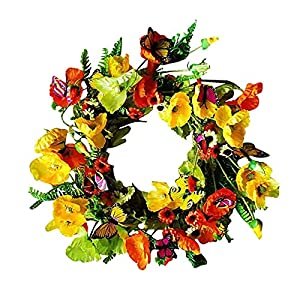Silk Flower Arrangements Sucpur Poppy Wreath, 17.7Inch Floral Wreath with Purple Poppy and Pansy Flowers Sunflower Poppy Deluxe Artificial Wreath for Front Door Home Decoration Rattan Ring Fake Flower