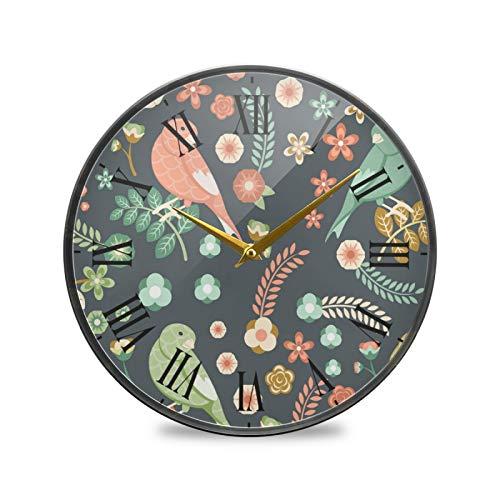 Pájaros Lindos De La Flor Arte Reloj de Pared Silencioso Decorativo Relojs para Niños Niñas Cocina Hogar Oficina Escuela Decoración
