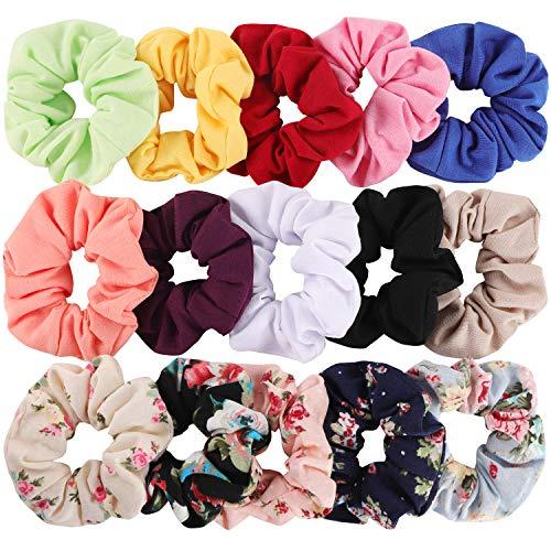 Hair Scrunchies Cotton Elastic Hair Bands 15 Pcs Scrunchies for Hair Accessories for Women or Girls