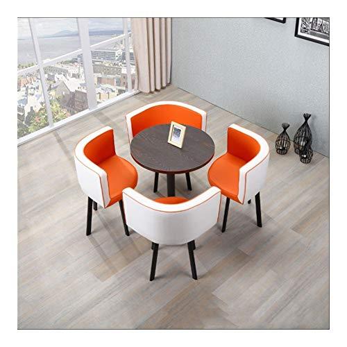TXOZ-Q Vintage Sencilla Negociación Presidente Inicio Tabla 5 Piezas de Cuero del Ocio Combinación Ronda de café Sofá Asiento Salón