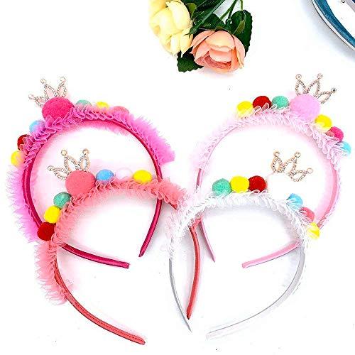 Bandeaux 4 Pcs Mignon Multicolore Boule De Cheveux Oreille Bandeau Double Grand Lumineux Coloré Strass Boule Fille Hairband Chat Oreilles