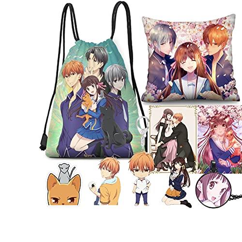 Fruits Basket Anime Merch,Mochila, Etiquetas engomadas de la tarjeta, llavero, funda de almohada, alfileres, collar (A)
