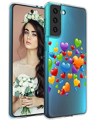 Compatible con Samsung Galaxy S21 funda,con diseño de con plumas y campanas de viento, funda fina transparente de silicona suave y flexible, resistente a los golpes, funda transparente para Galaxy S21
